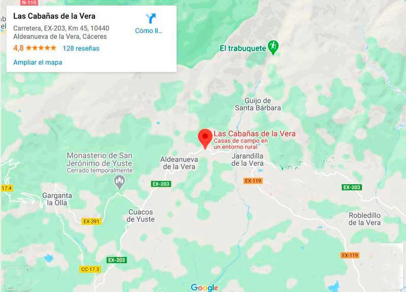 Situación casa rural Las Cabañas de la Vera